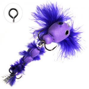 Мандула имитация бычка с перьями фиолетовая