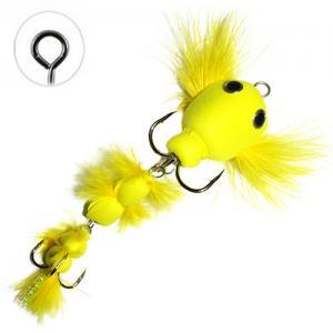 Мандула имитация бычка с перьями желтая